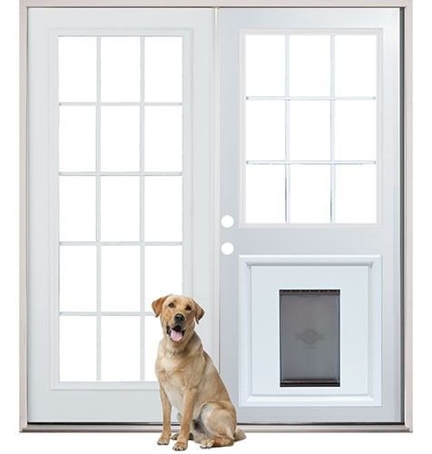 Patio French Back Doors With Pre Installed Pet Doggy Door Home Improvements