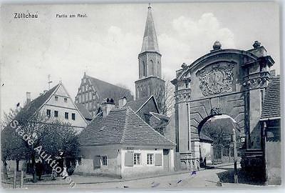 51577683 - Zuellichau  Sulechów Kirche Am Reul Bahnpost Cottbus-Bentschen ZUG 50
