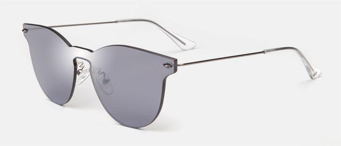 Gafas de pantalla para mujer, con forma redonda, en color plata espejado y varillas de metal ultraligeras. Entra en multiopticas.com y pruébatelas.