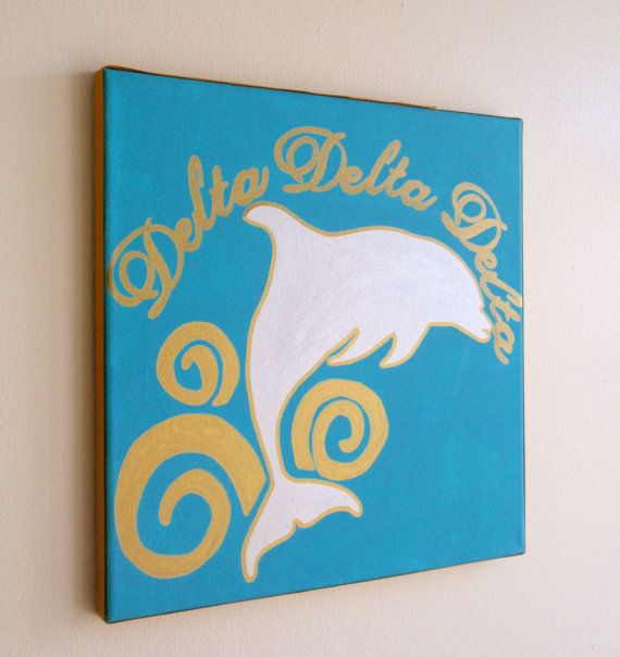 hand painted Delta Delta Delta mascot 12x12 canvas OFFICIAL LICENSED PRODUCT on Etsy, $25.00