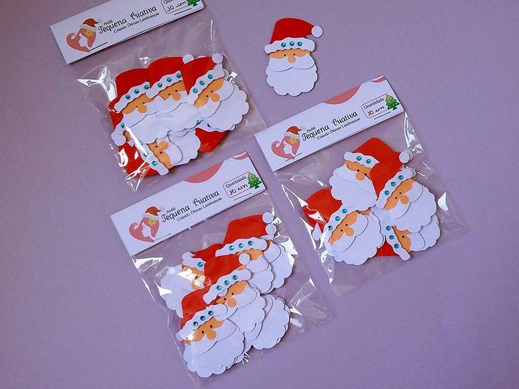 Aplique natalino papai noel para decoração de cartões, presentes, guirlandas, caixinhas, na decoração da mesa natalina e para os aniversários natalinos. Festa Natalina.