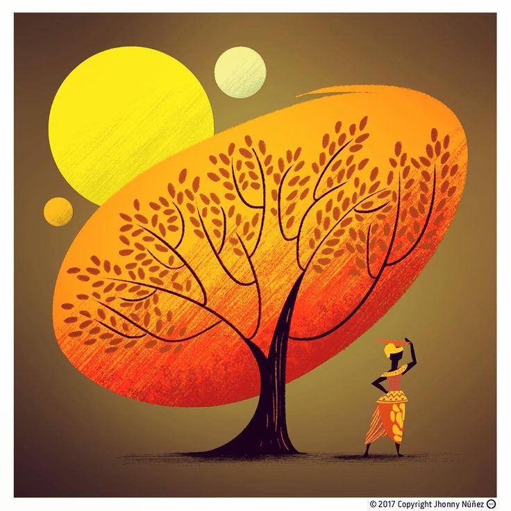 Paleta de calor o Belleza Negra del Espacio Exterior 👍🏿 #jhonnynúñez #ilustración #ilustración #picoftheday #viscocam #instagood