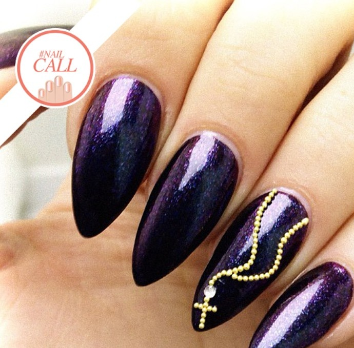 In love with this sparkly purple color and jeweled accents! #NailCall