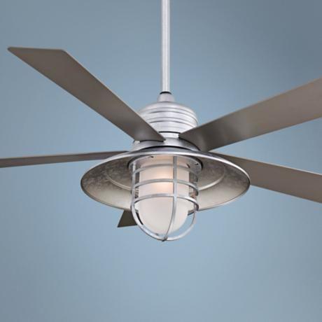 54 minka aire rainman galvanized ceiling fan ceiling for Farmhouse ceiling fan