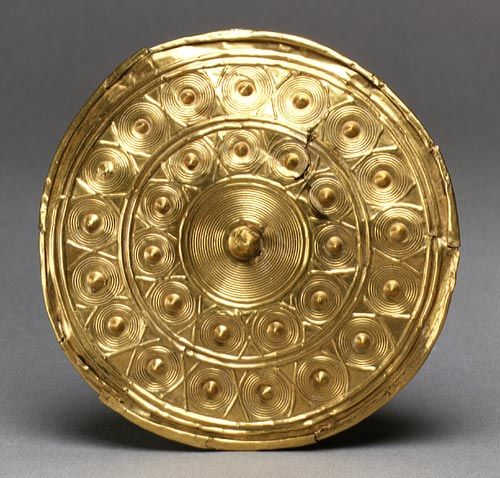 Gold Disk from a Spool, 900–600 b.c.; Late Bronze Age  Irish  Gold   Diam. 4 1/2 in. (11.4 cm)