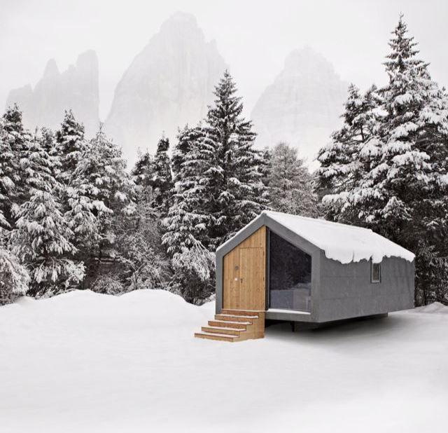 Concrete cabin.