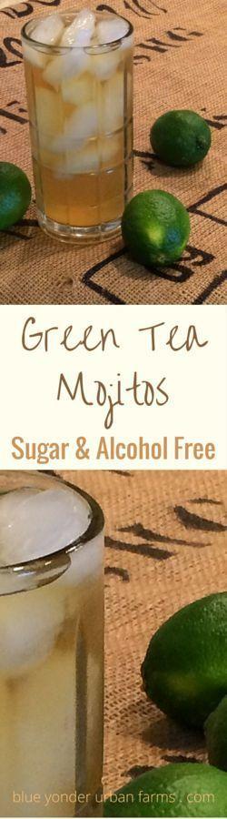 Green Tea Mojitos Sugar & Alcohol Free | Blue Yonder Urban Farms | Karen Coghlan | http://blueyonderurbanfarms.com/13944/green-tea-mojitos-sugar-alcohol-free/