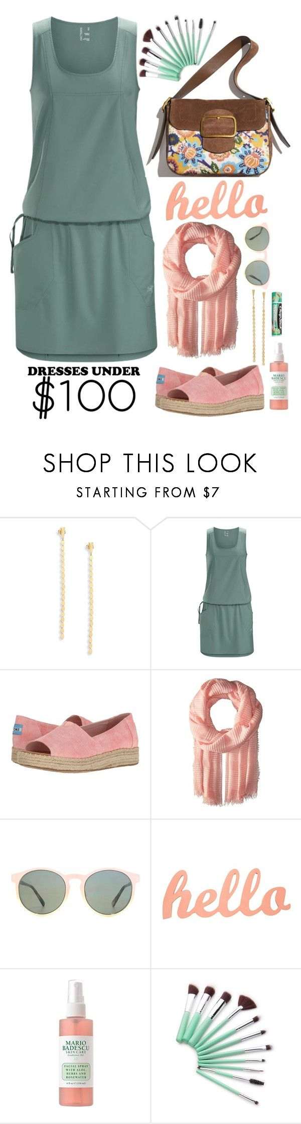 """Dresses Under $100"" by lbite ❤ liked on Polyvore featuring Lana Jewelry, Arc'teryx, TOMS, Echo Design, HOOK LDN, Chapstick and under100"