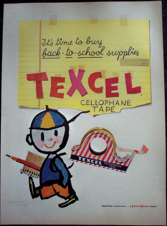 1955 Art AD Back-to-School art by Herbert Leupin TEXCEL cellophane tape