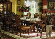 9pc Formal Dining Table & Chairs Set in Brown Cherry Finish