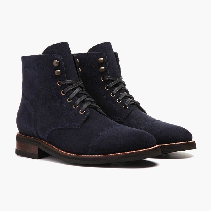 Handmade Men Navy blue Suede ankle boots, Mens fashion lace up boots, Men boots - Boots #MensFashionBoots