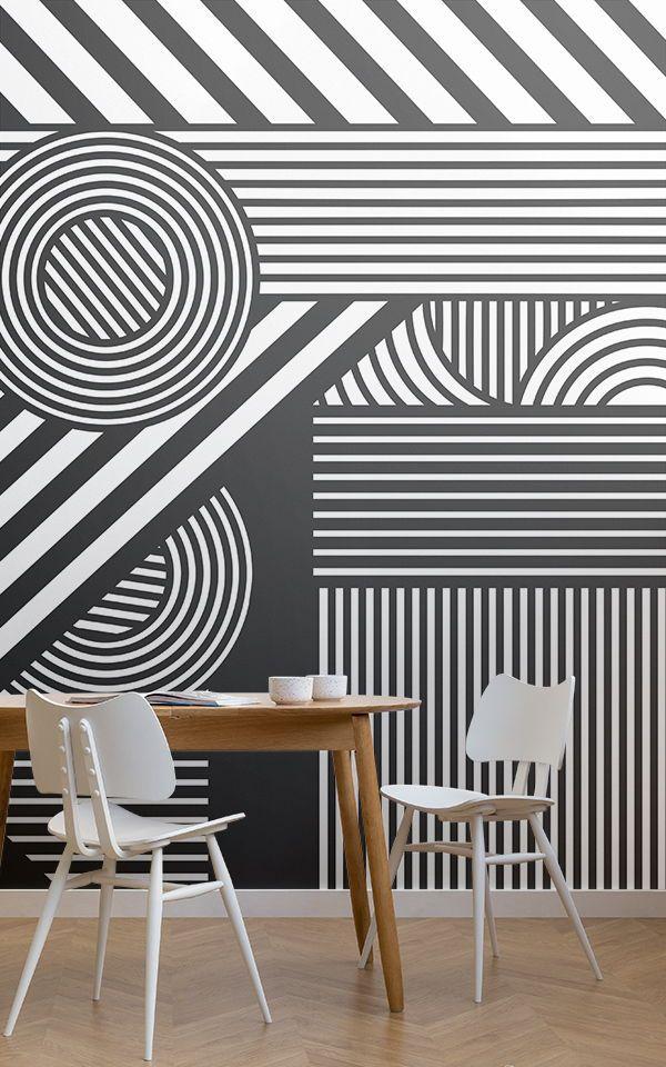 Black White Oriz Geometric Wallpaper Mural Hovia Uk White Room Decor White Wallpaper White Dining Room Decor Black geometric wallpaper uk
