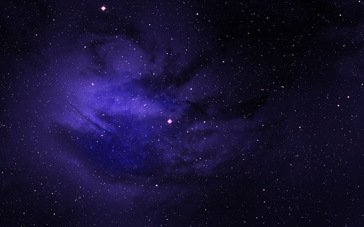 Download wallpapers starry sky, night, bright stars, clouds