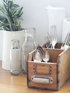 Repurpose an old drawer for setting out silverware when entertaining. Distressing, painting, and more ideas to save money and go green with your furniture!  Http://stagetecture.com/episode17