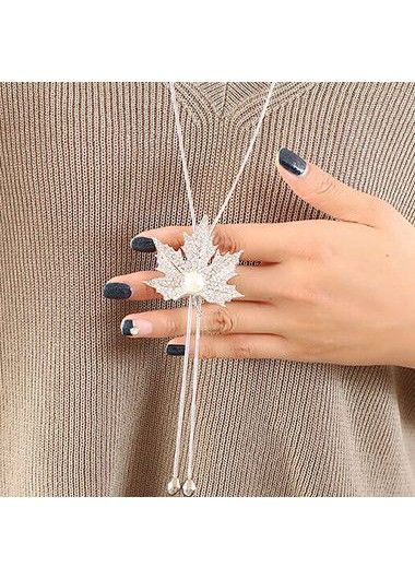 Silver Maple Leaf Shape Pendant Necklace on sale only US$9.07 now, buy cheap Silver Maple Leaf Shape Pendant Necklace at lulugal.com