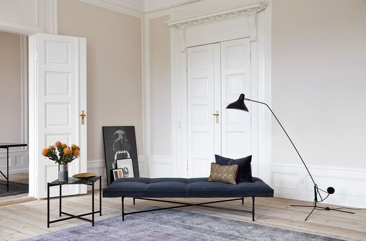 Velvet daybed & black side table by Handvark | Yellowtrace