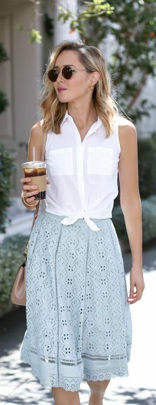 mint eyelet midi skirt, sleeveless tie front button down, white penny loafers, nude satchel + round sunglasses {ranna gill, calvin klein, dolce&gabbana, wonderland}