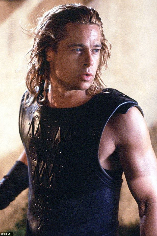 How it was: Brad's gaunt appearance is a far cry from his glory days as Greek God Achilles in 2004 blockbuster Troy