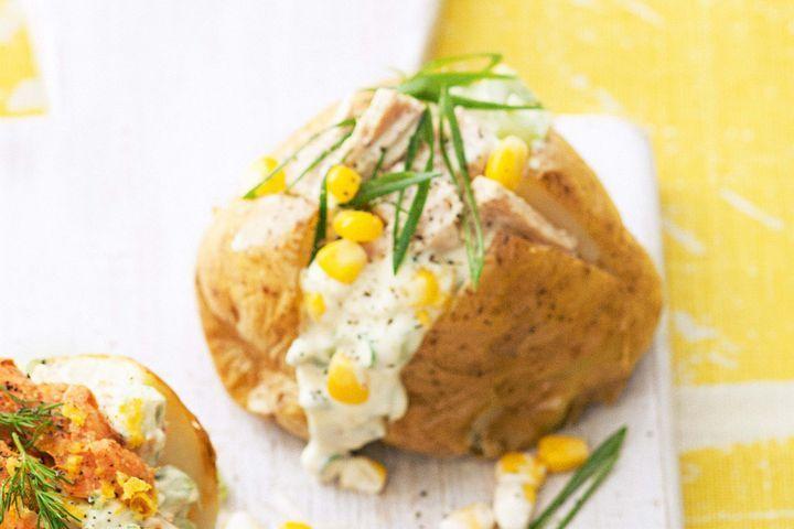 Creamy tuna and celery jacket potatoes