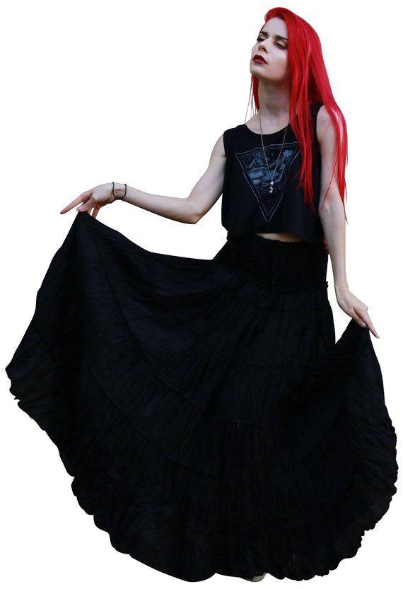 2ad280b6e6 Long Boho Crochet Waist Skirt with Drawstring * Cotton Maxi Skirt * Skirts  for Women * Hippie Skirt * Bohemian Skirt *Free Shipping*SH-black