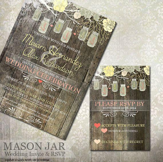 Rustic Mason Jar Wedding Invitation & RSVP - Digital or Printed - Mason Jar Rustic Wedding Stationery on Etsy, $24.50