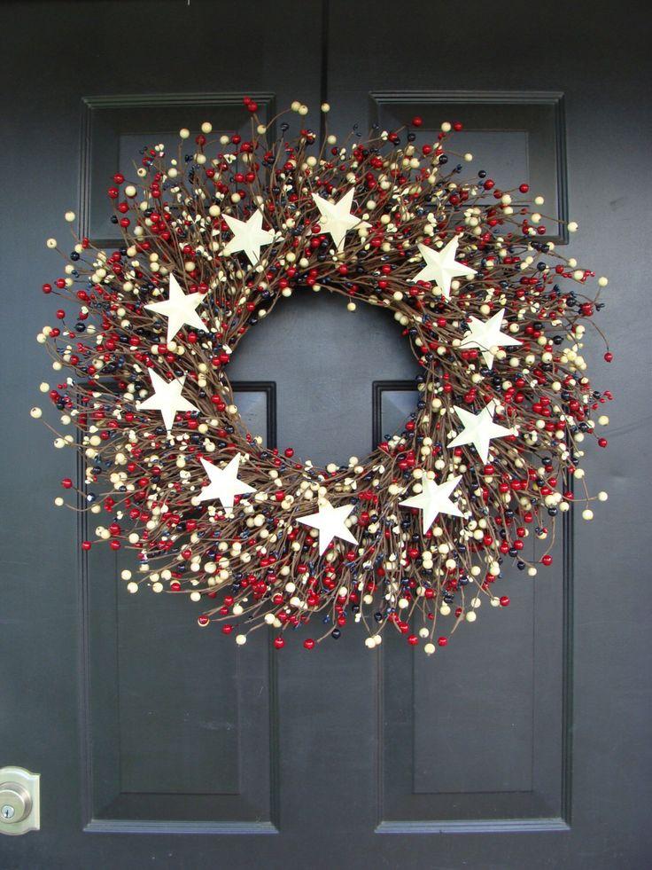 Fourth of July Wreath- July 4th Wreath- Patriotic Wreath- Fourth of July Decor by ElegantWreath on Etsy https://www.etsy.com/listing/101148201/fourth-of-july-wreath-july-4th-wreath
