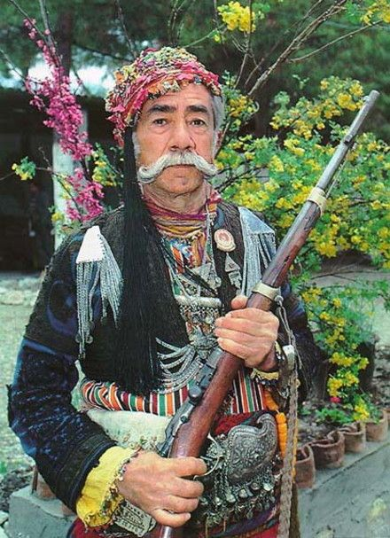 Authentic outfit of an 'Efe / Zeybek' from the Izmir/ Aydın region.  This man was probably a member (or the son of a member) of the 'Kuva-yi Milliye' (Nationalist Forces, which refers to the irregular Turkish militia forces in the early period of the Turkish War of Independence); they still use to gather on the annual 'Kurtuluş Günleri' (Liberation days), which celebrate the victory over the Greek army in 1922.