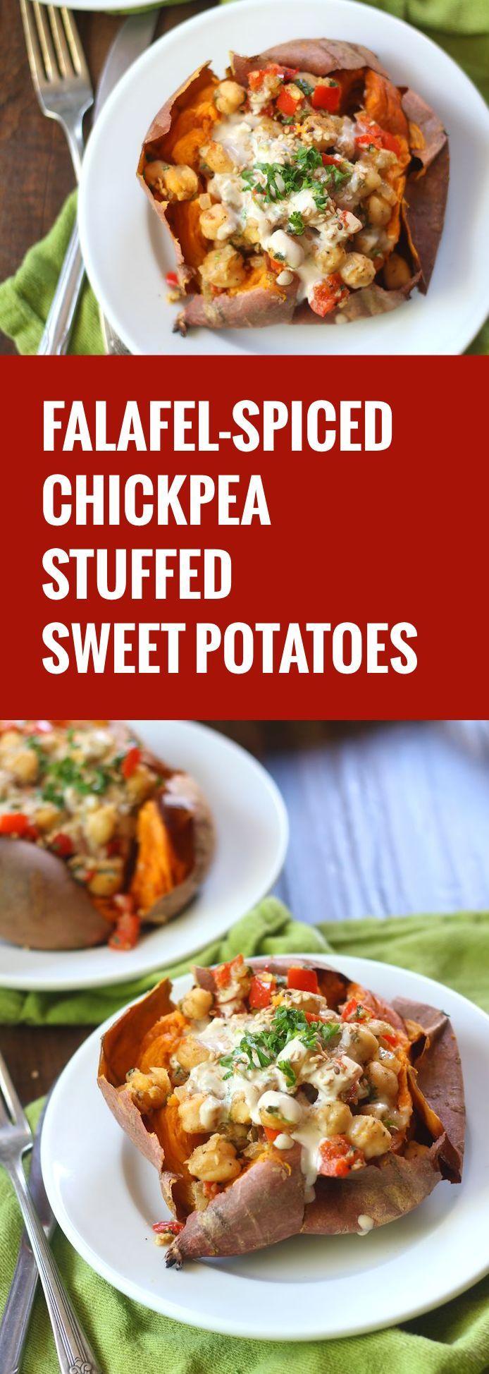 Falafel Spiced Skillet Chickpea Stuffed Sweet Potatoes | Recipe ...