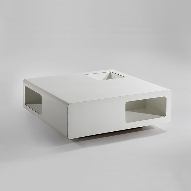 MICHEL BOYER Low Table, 1968 White Formica, Wood 13.78 X 38.58 X 39.37  Inches