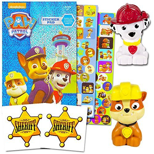 Paw Patrol Figures Set with Stickers -- 2 Mini Figures, Over 200 Paw Patrol Stickers, 2 Licensed Sheriff Stickers