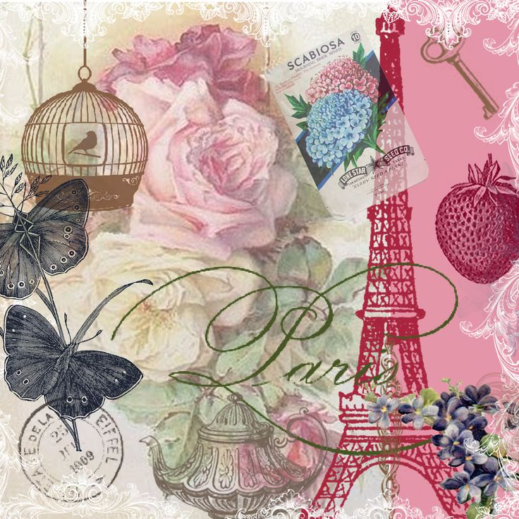 Free 12 x12 Paris Vintage Collage Paper Design I created