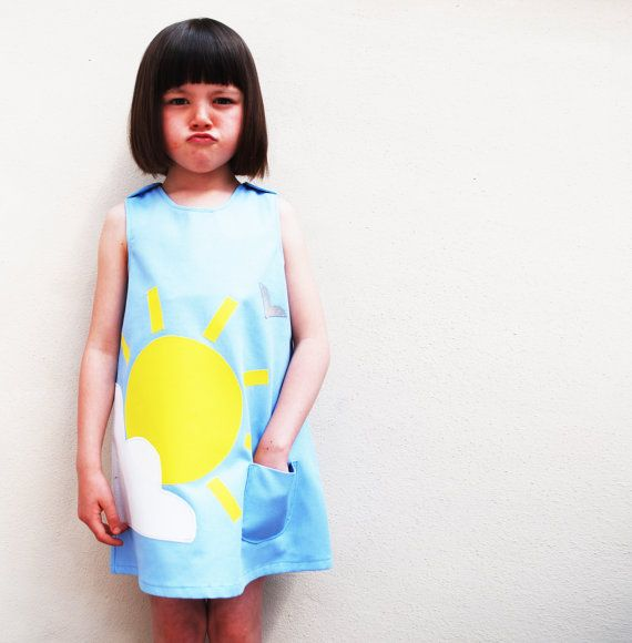 Girls dress handmade with summer sunshine and cloud on Etsy, $70.00