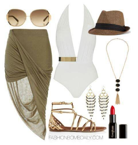 Metal half belt and wrap skirt