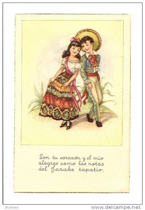 Fille Et Garçon En Costume Folklorique, Chantant Et Dansant, Espagne (08-669)