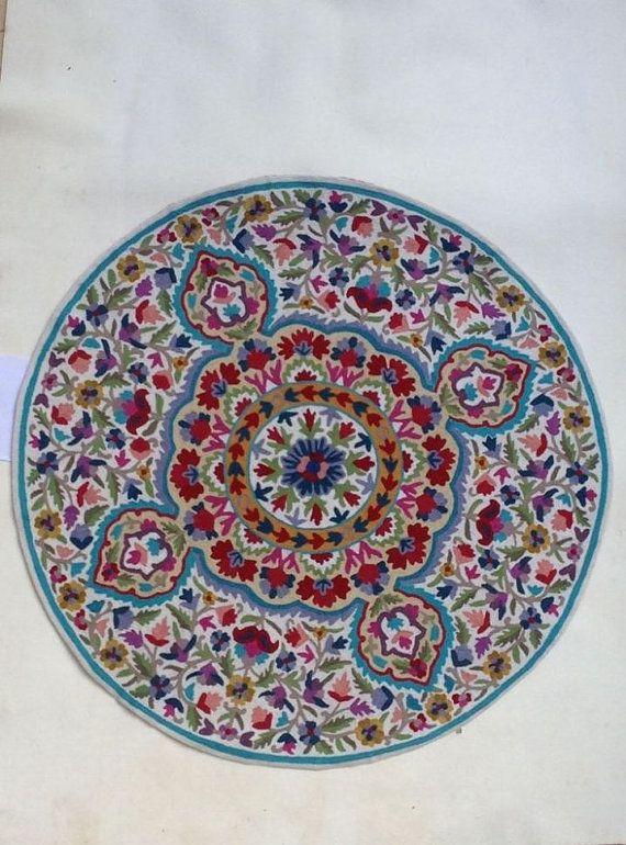 4 round rug, Mandala rug, floral area rugs, cool rugs, circular rugs