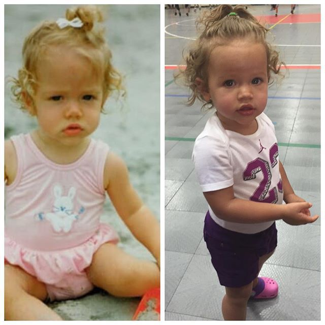 "Kendra Wilkinson posted a ""side by side"" image of herself as a baby and 15-month-old daughter Alijah (September 8, 2015)"