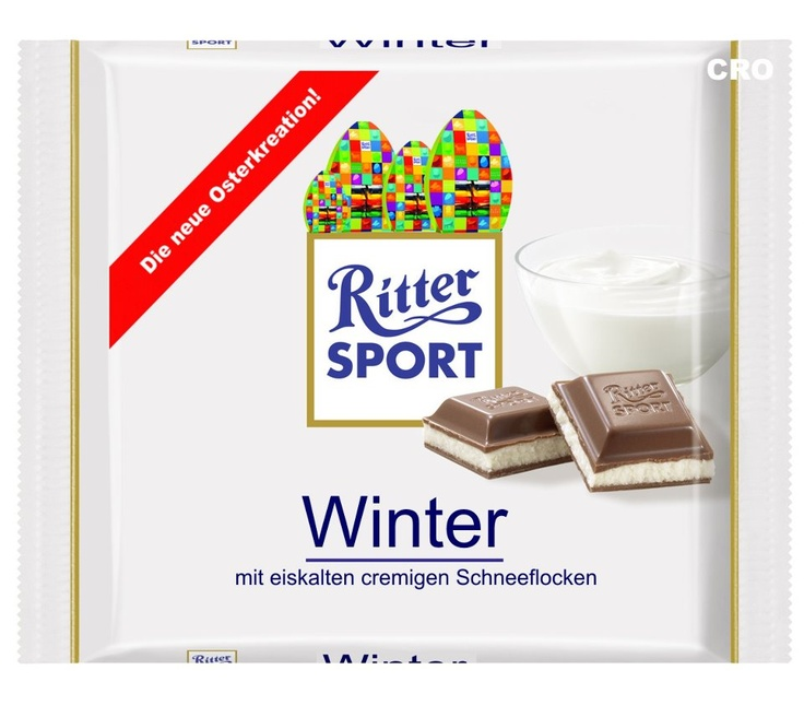 RITTER SPORT Fake Schokolade Winter mit eiskalten cremigen Schneeflocken