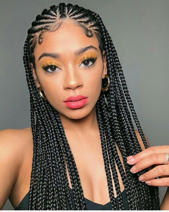 Ghanaian Hairstyles On Instagram Half Cornrows Half Box