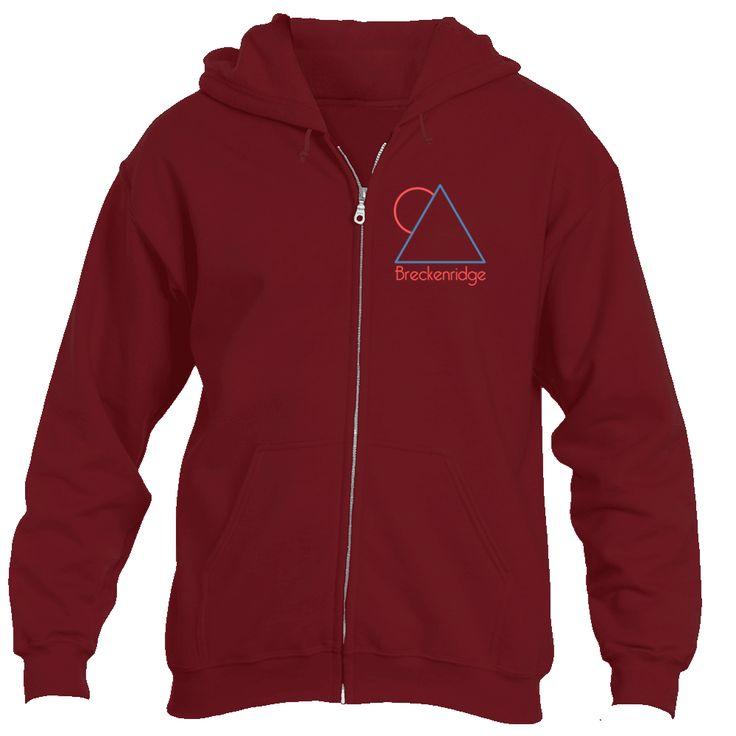 Breckenridge, Colorado Minimal Mountain Sun in Red/Blue - Men's Full-Zip Hooded Sweatshirt/Hoodie