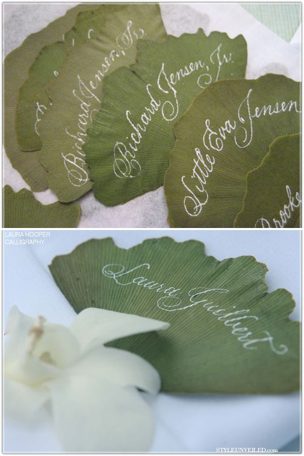 Ginkgo leaf escort cards.  So beautiful!  Just need someone with a steady hand and beautiful handwriting.