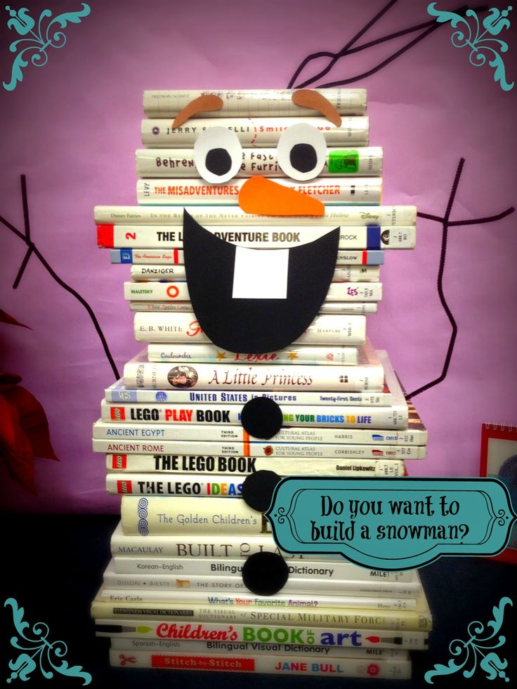Olaf Book Display - Snowman shaped books, pipe cleaners and card stock. Frozen library decor.