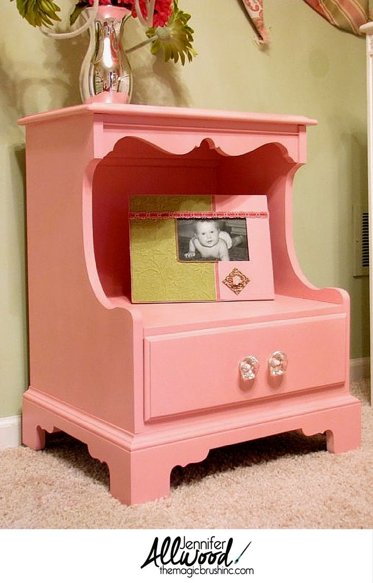 Beautiful Light Pink Nightstand With Crystal Knobs Pink