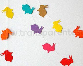 Decoraciones de Pascua, guirnalda de conejito de Pascua, primavera guirnalda, guirnalda conejo, banner de conejito de Pascua, bandera de Pascua, decoración de Pascua, arco iris, KAB-4008