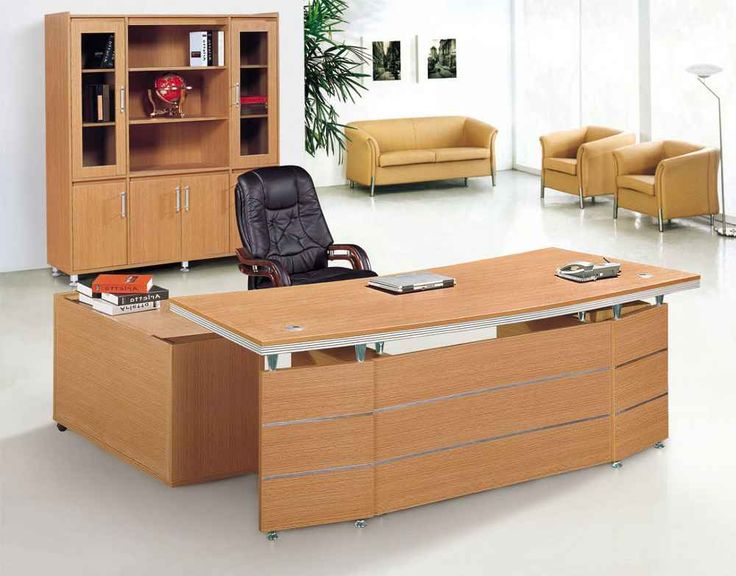 Modern L Shaped Office Computer Desk With Wooden Interior Shelves And Black  Chair Lounge Also Brown