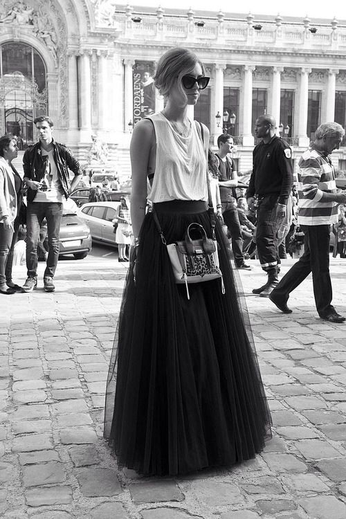 Tank tops and tulle skirts:: Black and white:: Maxi Tulle Skirts:: Long Tulle Skirt:: Spring Fashion