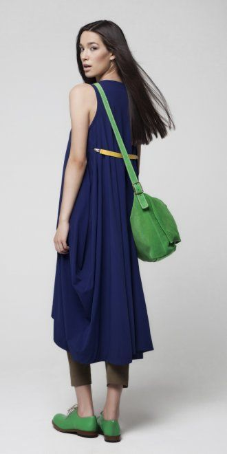 Okishi Deep Cobalt & Yellow Belt Flared Dress