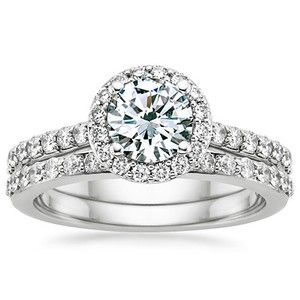 (My dream ring...mmm) 18K White Gold Halo Diamond Ring with Side Stones with Petite Shared Prong Diamond Ring