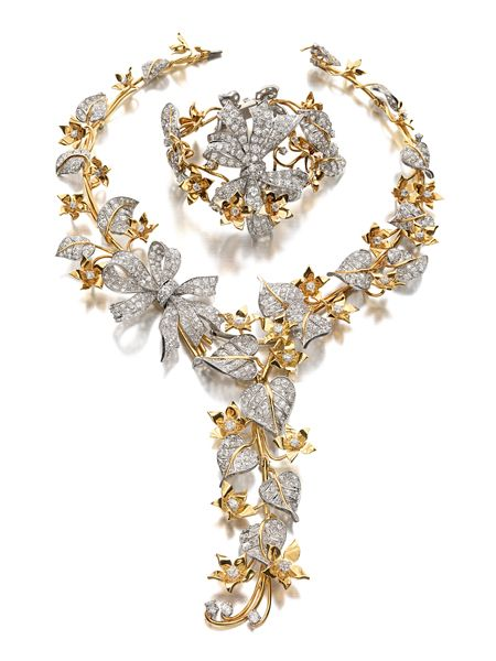 Gold and Diamond Suite Designed by George Headley, Los Angeles; the Necklace Retailed by Paul Flato, circa 1941; the Bracelet Retailed by La...
