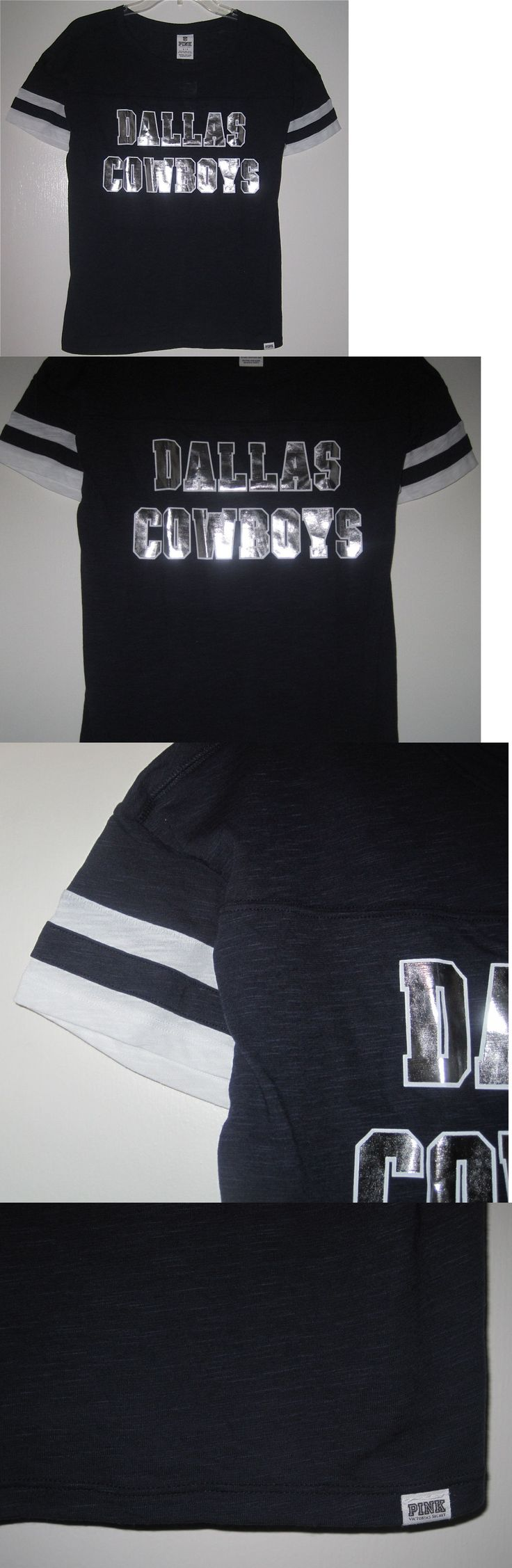 Women T Shirts: Nwt Victoria S Secret Pink Dallas Cowboys Silver Bling Stripe Sleeve T Shirt Top -> BUY IT NOW ONLY: $44.99 on eBay!