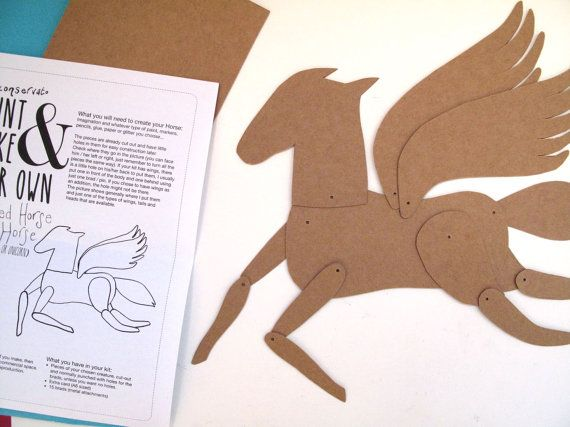 DIY KIT Winged Horse Articulated Decoration  / Hinged Beasts Series
